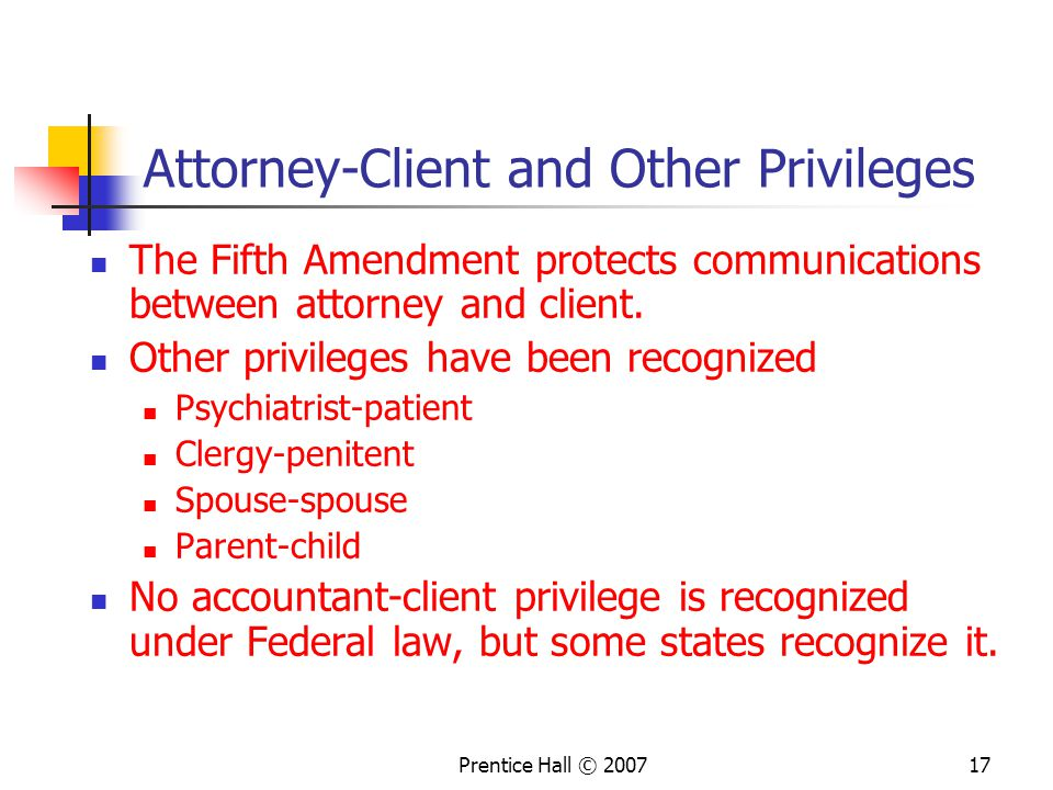 Prentice Hall © 200717 Attorney-Client and Other Privileges The Fifth Amendment protects communications between attorney and client.
