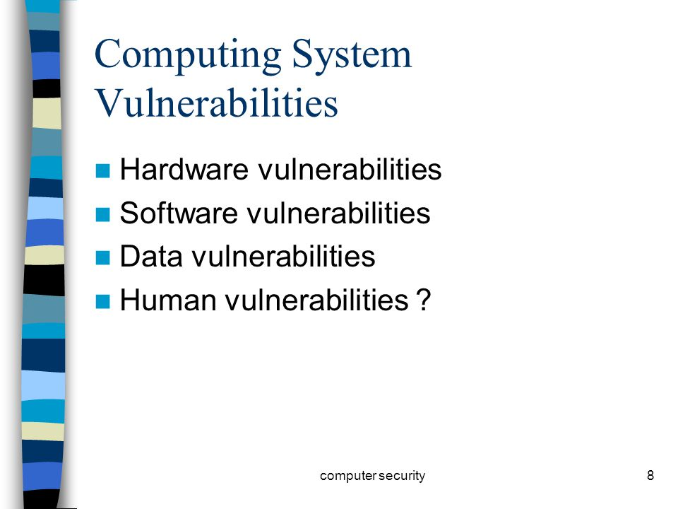 8 Computing System Vulnerabilities Hardware vulnerabilities Software vulnerabilities Data vulnerabilities Human vulnerabilities .