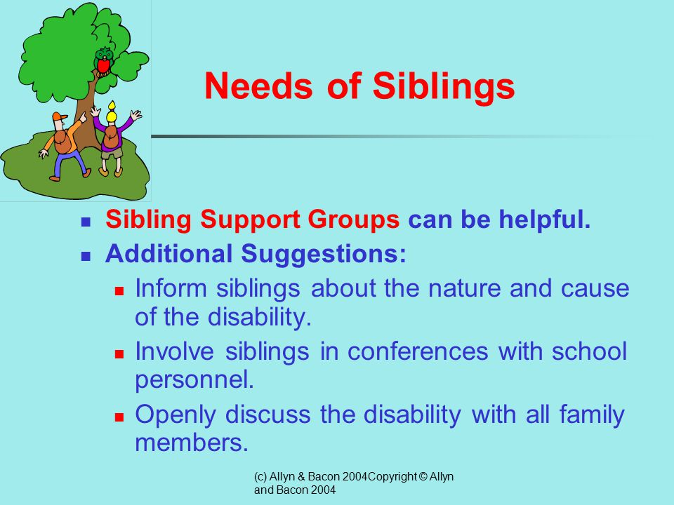 (c) Allyn & Bacon 2004Copyright © Allyn and Bacon 2004 Needs of Siblings  Need for information about their sibling's disability  Need to address feelings of isolation  Need to address feelings of guilt  Need to address feelings of resentment  Need to address perceived pressure to achieve  Need to address caregiving demands  Need to address their role in their sibling's future