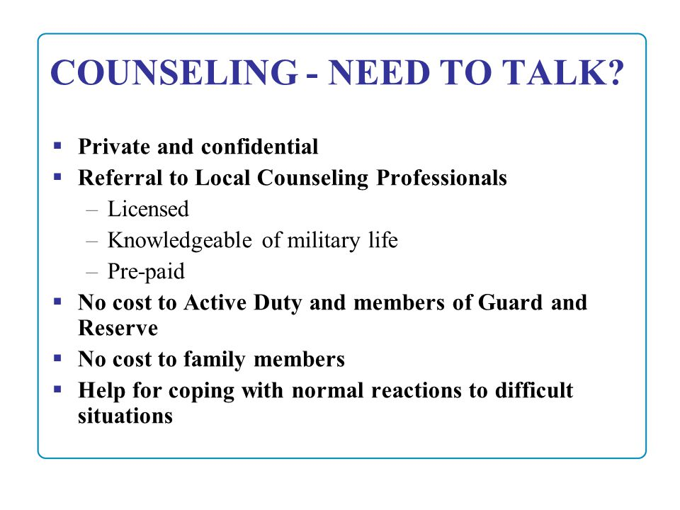 Counseling Program Office of the Deputy Under Secretary of Defense ...