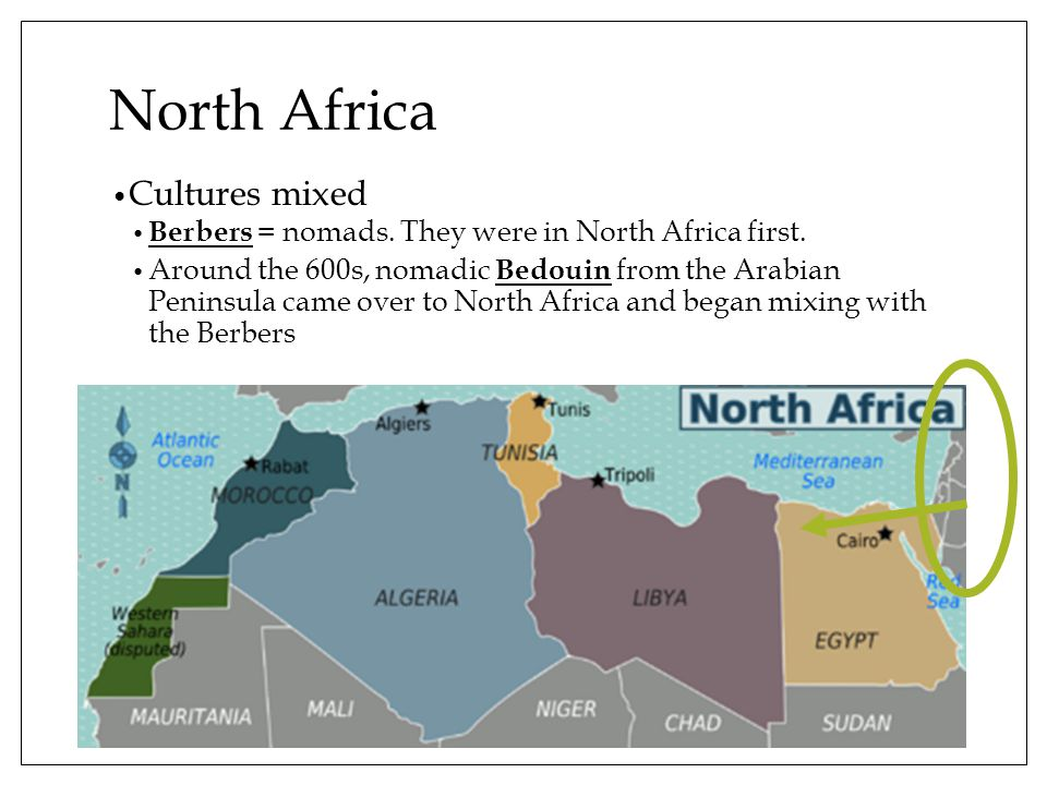 North Africa Cultures mixed Berbers = nomads. They were in North Africa first.