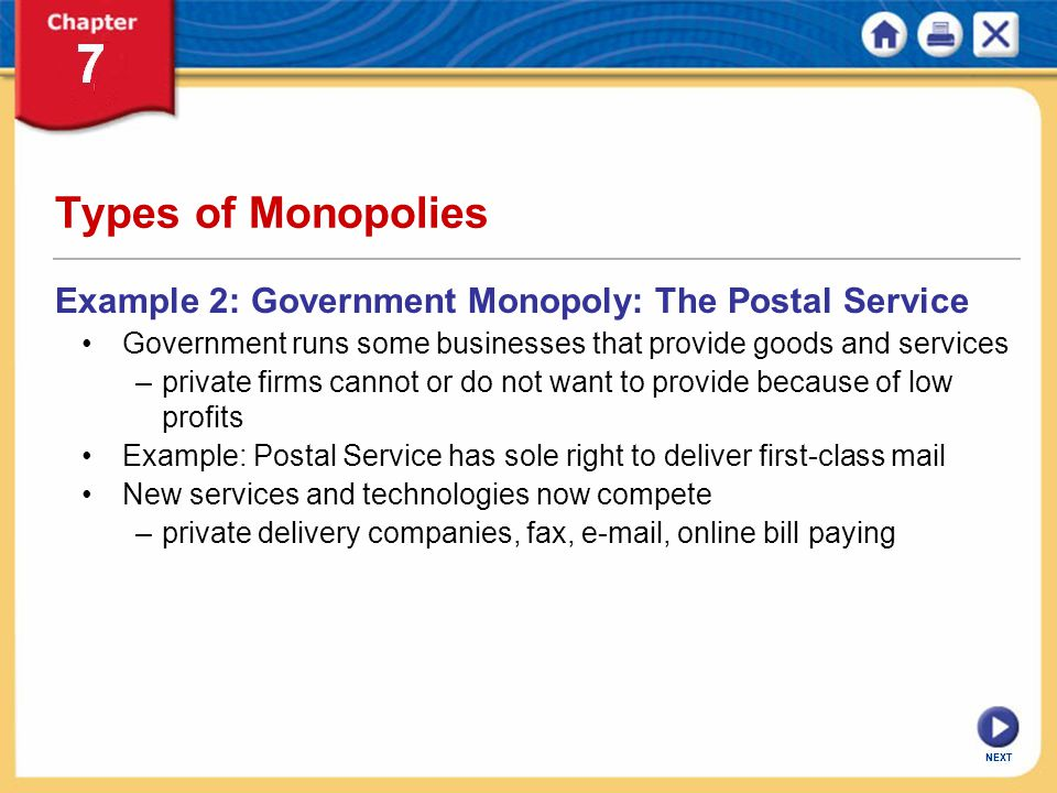 Government Monopoly Example