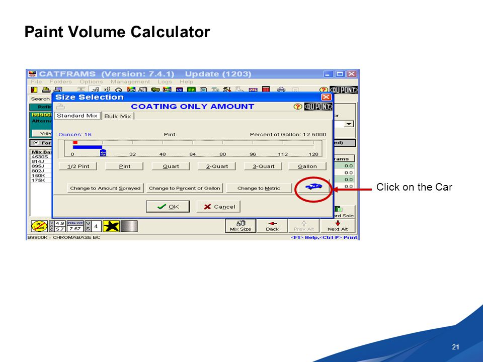 Paint Volume Calculator 21 Click on the Car