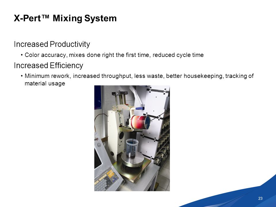 X-Pert™ Mixing System Increased Productivity Color accuracy, mixes done right the first time, reduced cycle time Increased Efficiency Minimum rework, increased throughput, less waste, better housekeeping, tracking of material usage 23