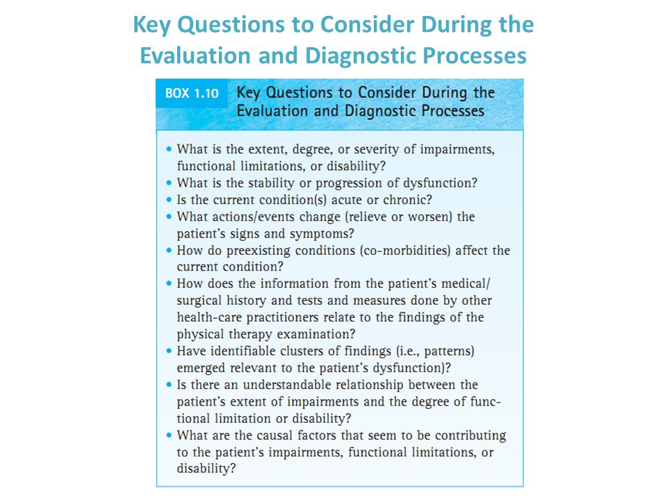 Key Questions to Consider During the Evaluation and Diagnostic Processes