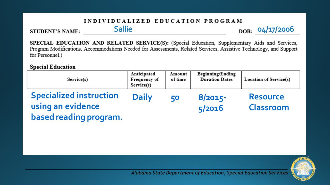 Specialized instruction using an evidence based reading program.
