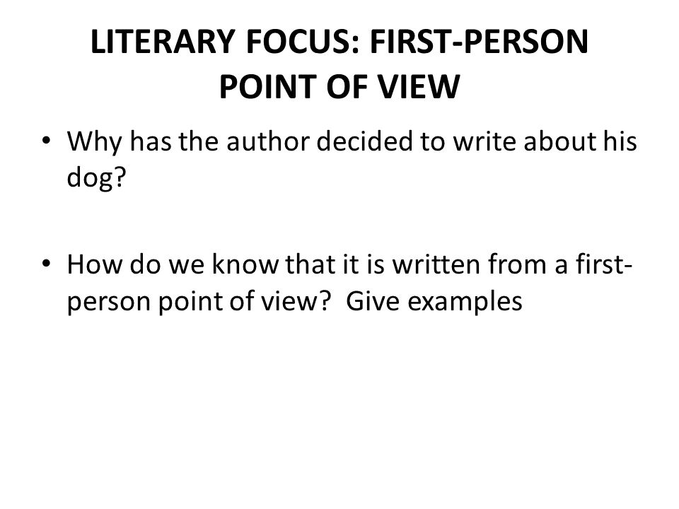 How do you write in first person?