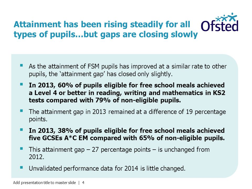 Add presentation title to master slide | 4 Attainment has been rising steadily for all types of pupils…but gaps are closing slowly  As the attainment of FSM pupils has improved at a similar rate to other pupils, the 'attainment gap' has closed only slightly.