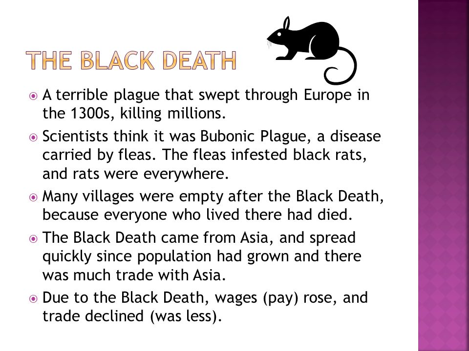 A terrible plague that swept through Europe in the 1300s, killing millions.