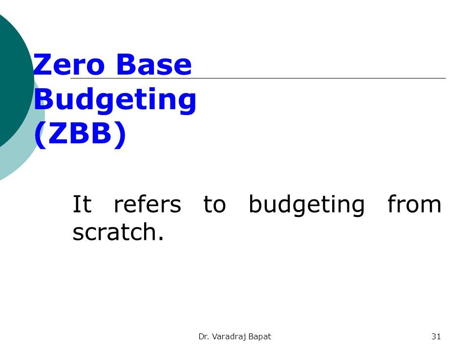 Dr. Varadraj Bapat31 It refers to budgeting from scratch. Zero Base Budgeting (ZBB)