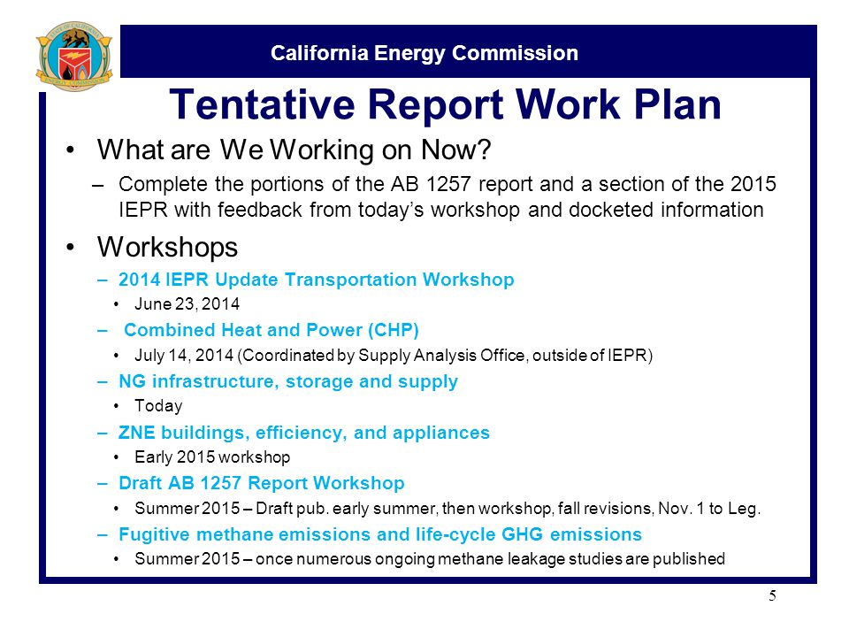 California Energy Commission Tentative Report Work Plan What are We Working on Now.