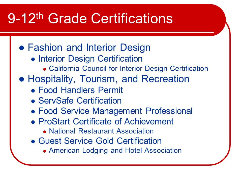 16 9 12 Th Grade Certifications Fashion And Interior Design Certification California