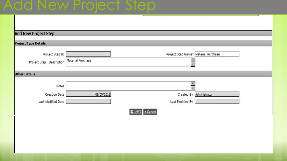 Add New Project Step