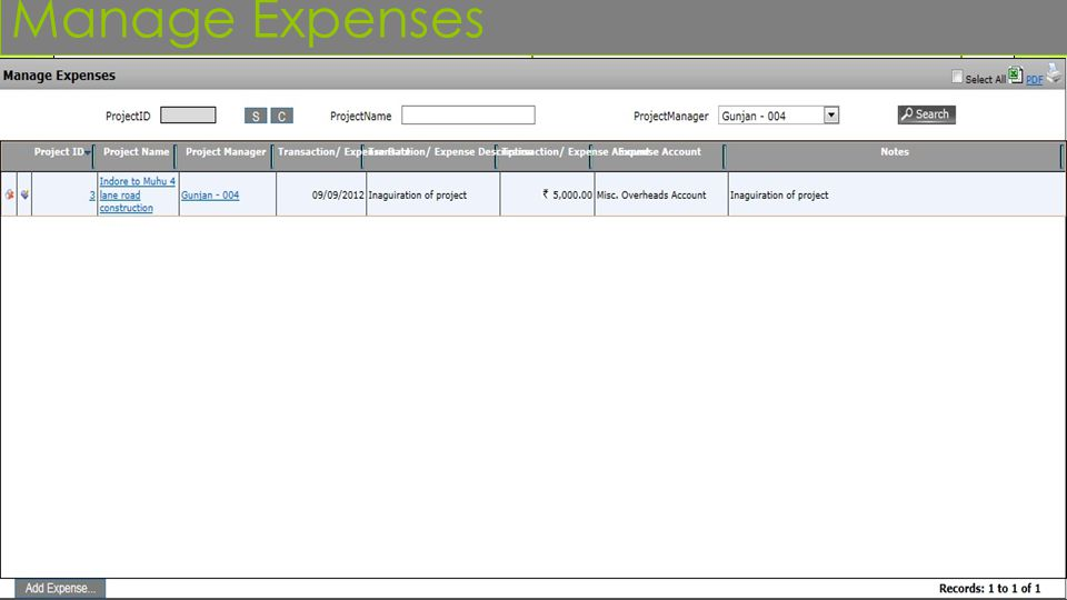 Manage Expenses