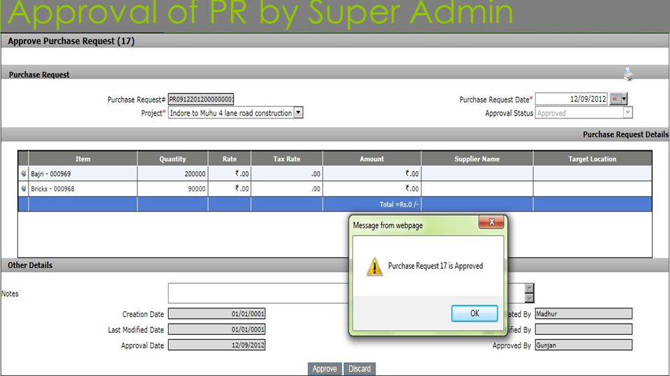 Approval of PR by Super Admin