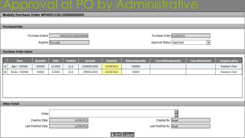 Approval of PO by Administrative