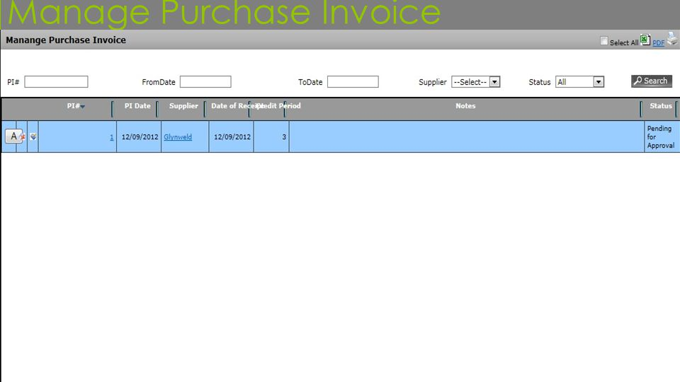 Manage Purchase Invoice