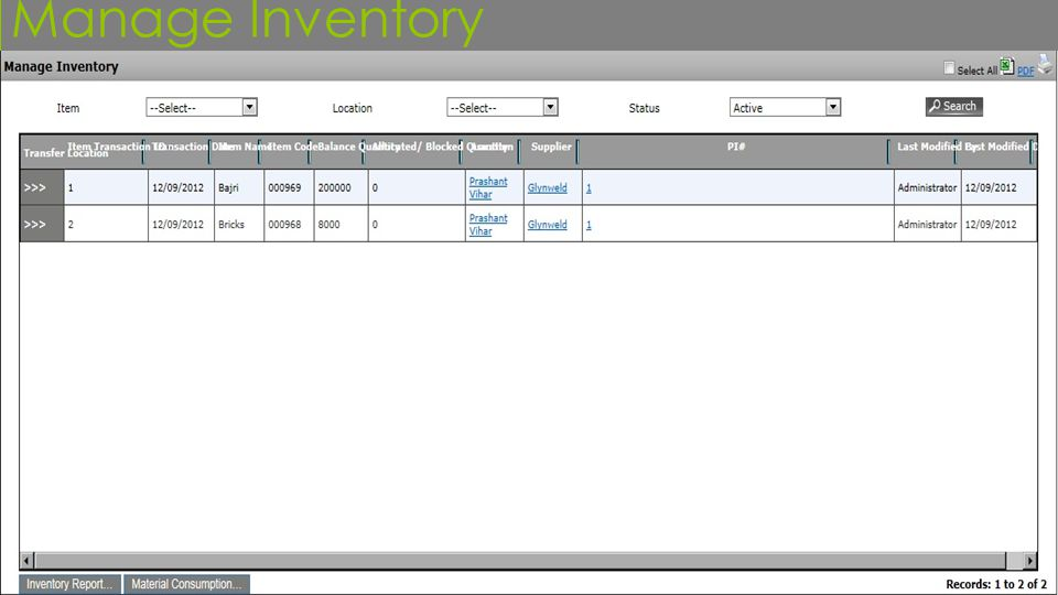 Manage Inventory