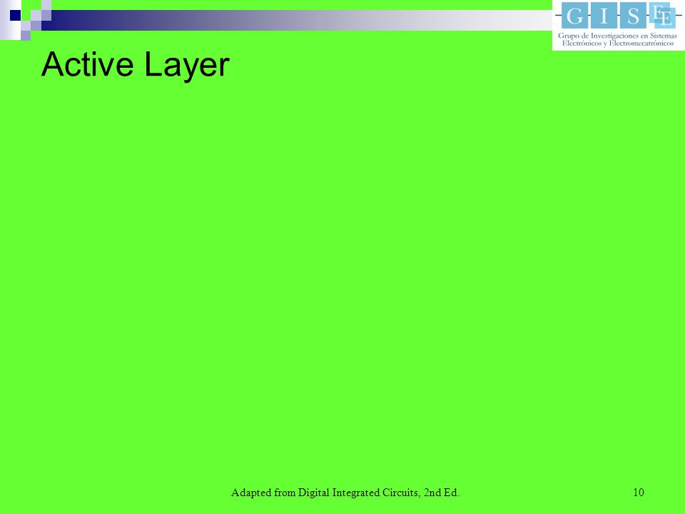 Adapted from Digital Integrated Circuits, 2nd Ed.10 Active Layer