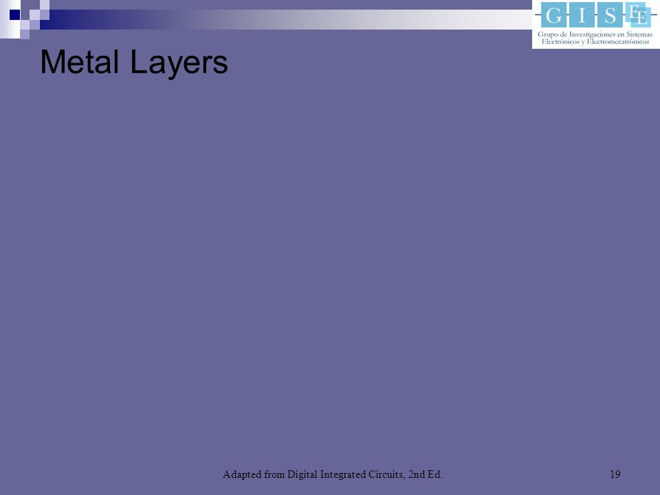Adapted from Digital Integrated Circuits, 2nd Ed.19 Metal Layers