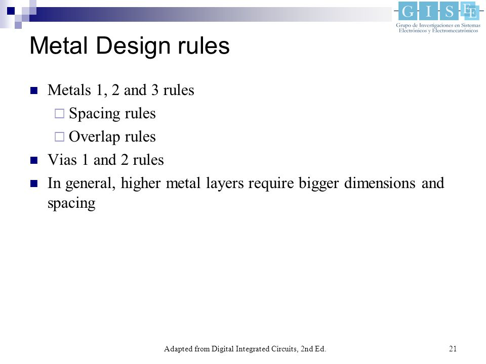 Adapted from Digital Integrated Circuits, 2nd Ed.21 Metal Design rules Metals 1, 2 and 3 rules  Spacing rules  Overlap rules Vias 1 and 2 rules In general, higher metal layers require bigger dimensions and spacing