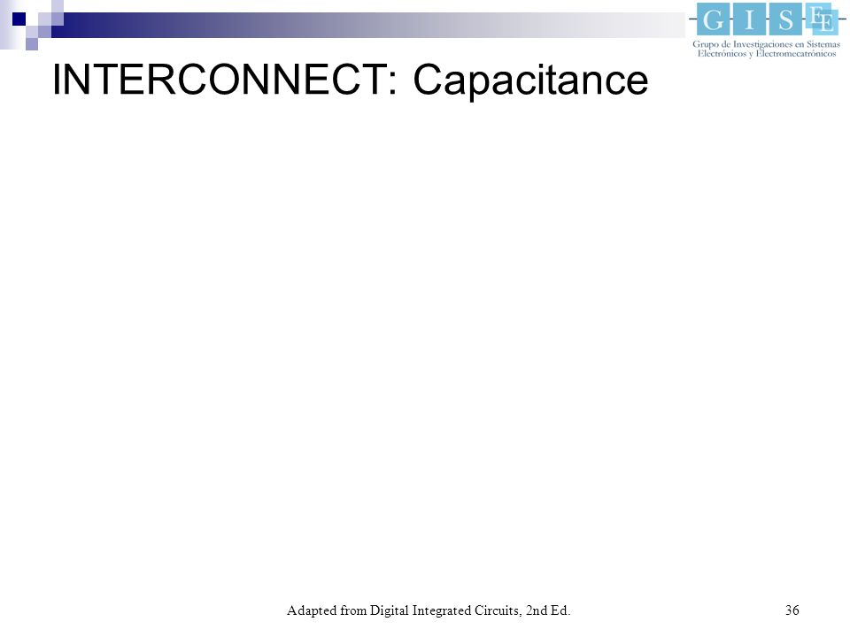 Adapted from Digital Integrated Circuits, 2nd Ed.36 INTERCONNECT: Capacitance