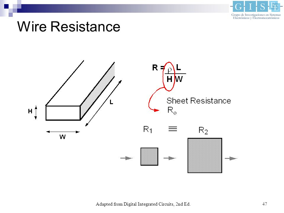 Adapted from Digital Integrated Circuits, 2nd Ed.47 Wire Resistance