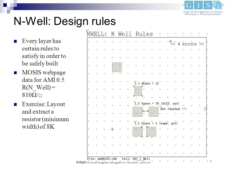 Adapted from Digital Integrated Circuits, 2nd Ed.7 N-Well: Design rules Every layer has certain rules to satisfy in order to be safely built MOSIS webpage data for AMI 0.5 R(N_Well) = 810Ω/□ Exercise: Layout and extract a resistor (minimum width) of 8K
