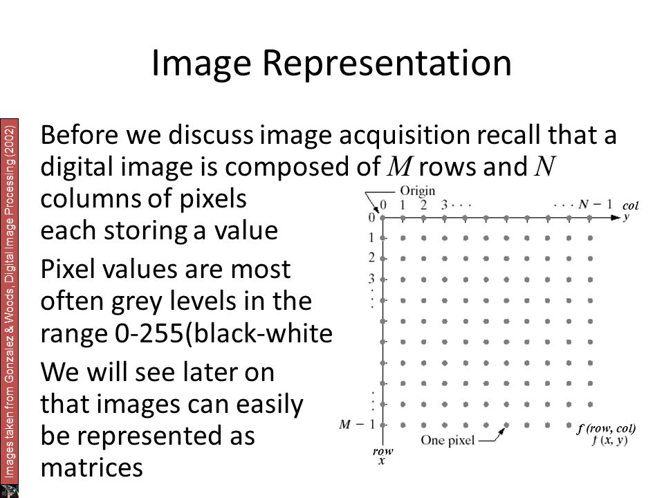 Image Representation Before we discuss image acquisition recall that a digital image is composed of M rows and N columns of pixels each storing a value Pixel values are most often grey levels in the range 0-255(black-white) We will see later on that images can easily be represented as matrices col row f (row, col) Images taken from Gonzalez & Woods, Digital Image Processing (2002)