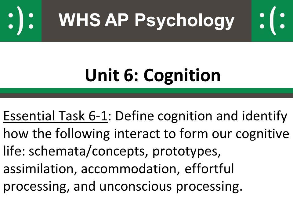 WHS AP Psychology Unit 6: Cognition Essential Task 6-1: Define ...