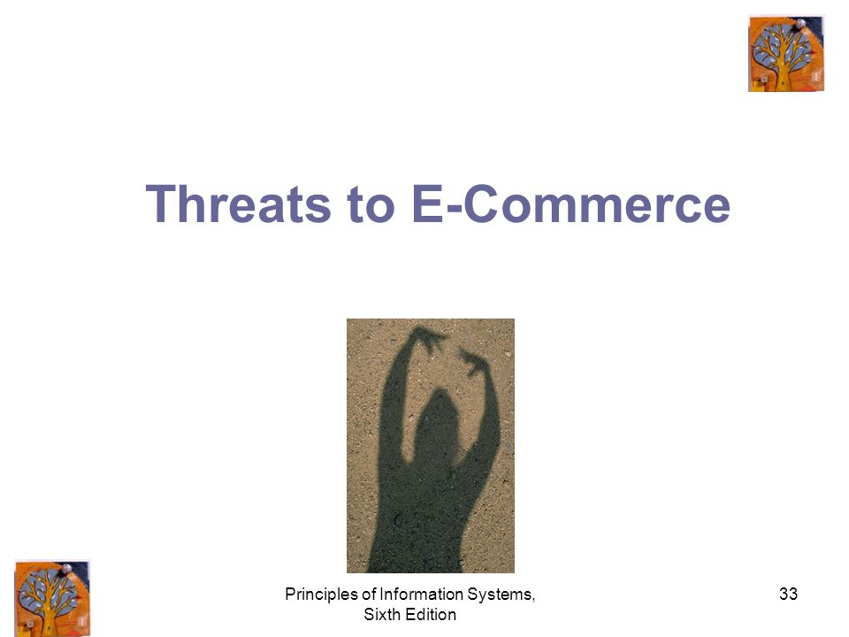Principles of Information Systems, Sixth Edition 33 Threats to E-Commerce