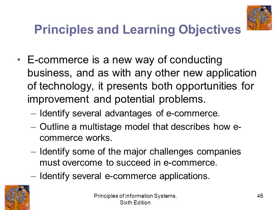 Principles of Information Systems, Sixth Edition 46 Principles and Learning Objectives E-commerce is a new way of conducting business, and as with any other new application of technology, it presents both opportunities for improvement and potential problems.