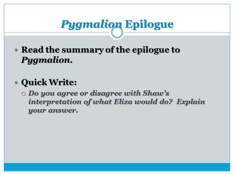Pygmalion Essay Questions