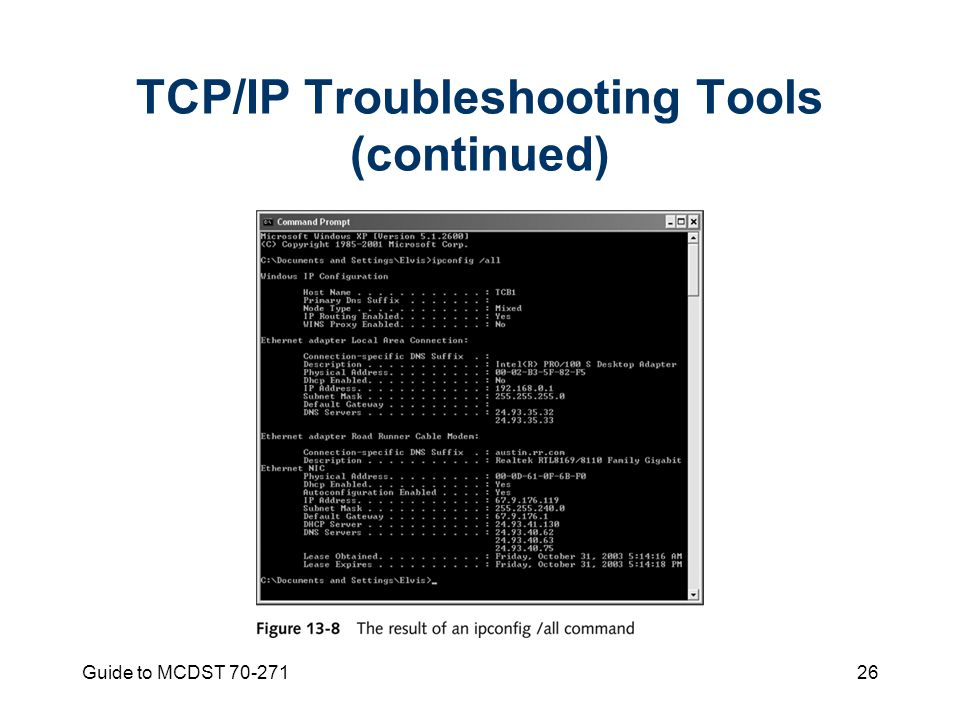 Guide to MCDST TCP/IP Troubleshooting Tools (continued)
