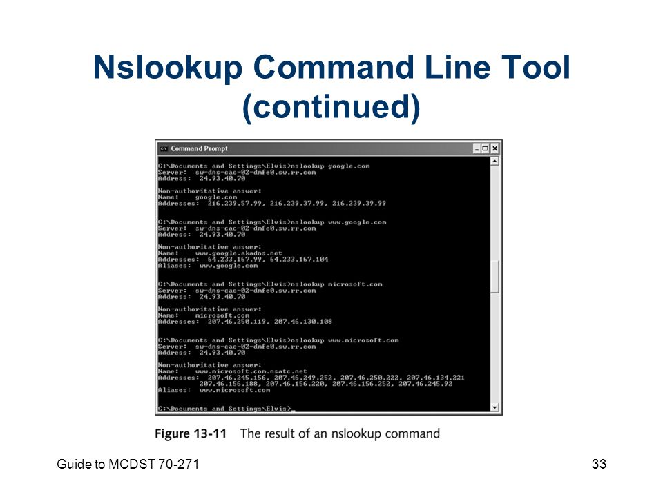 Guide to MCDST Nslookup Command Line Tool (continued)