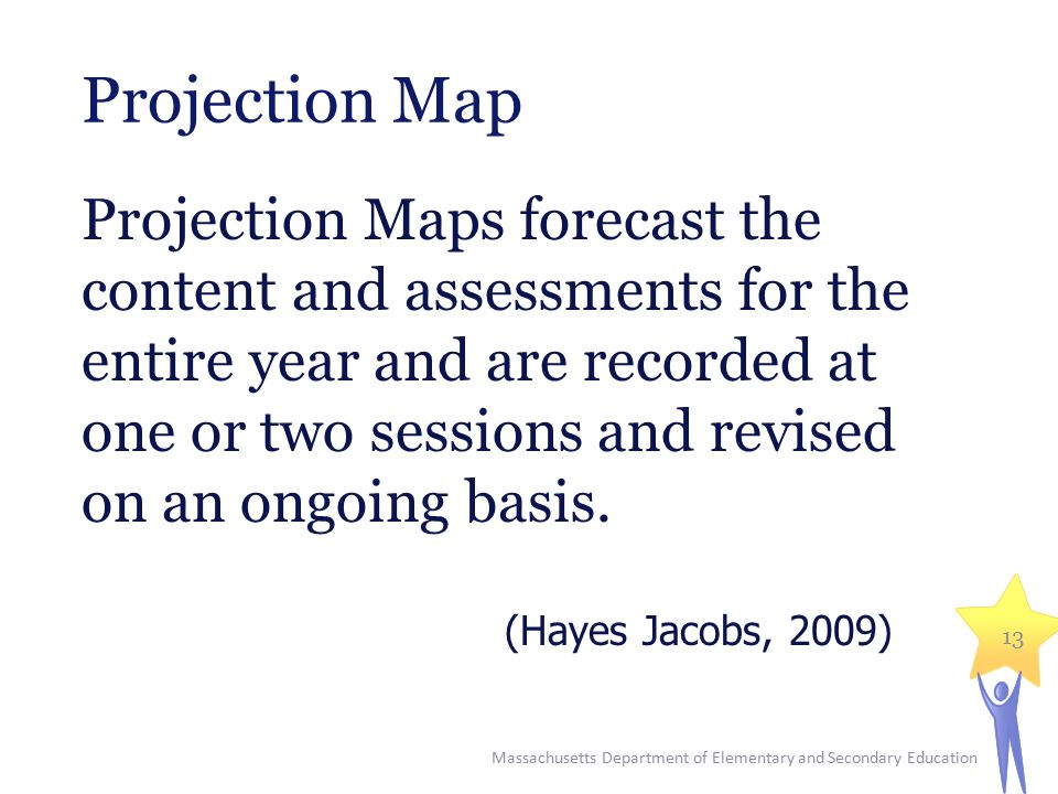 Projection Map Projection Maps forecast the content and assessments for the entire year and are recorded at one or two sessions and revised on an ongoing basis.