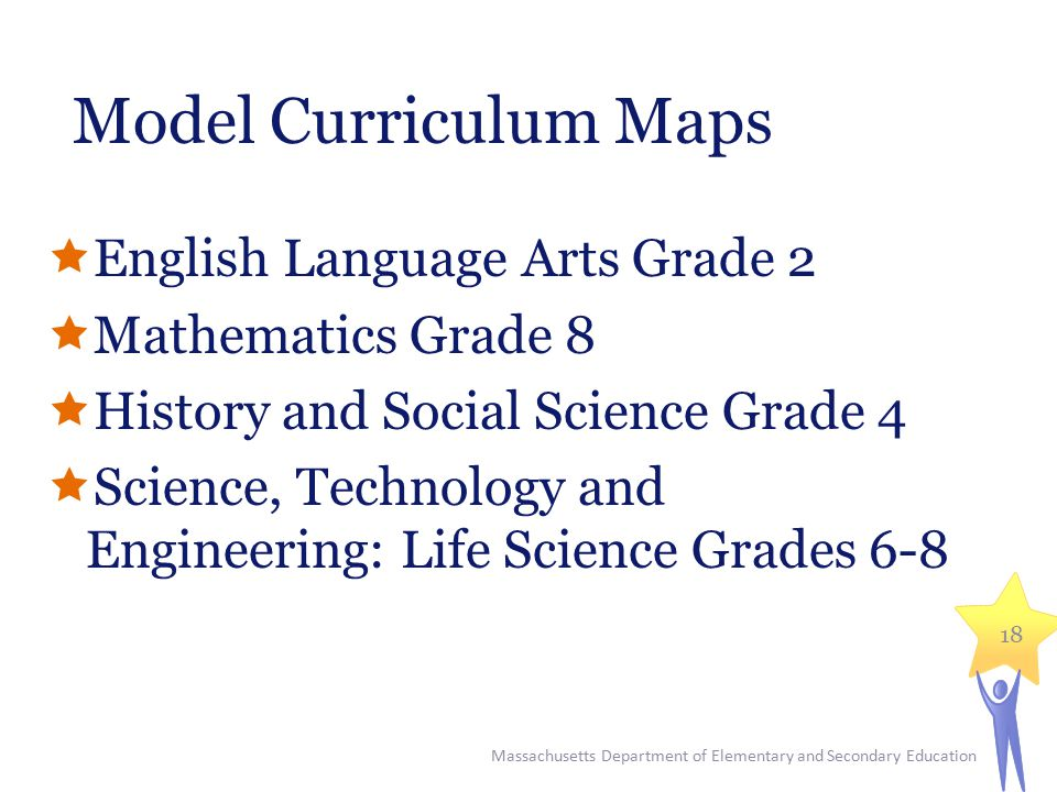 Model Curriculum Maps  English Language Arts Grade 2  Mathematics Grade 8  History and Social Science Grade 4  Science, Technology and Engineering: Life Science Grades 6-8 Massachusetts Department of Elementary and Secondary Education 18