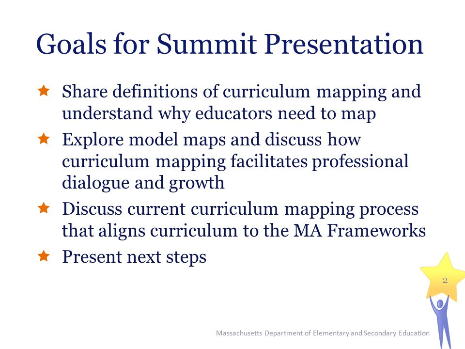 Goals for Summit Presentation  Share definitions of curriculum mapping and understand why educators need to map  Explore model maps and discuss how curriculum mapping facilitates professional dialogue and growth  Discuss current curriculum mapping process that aligns curriculum to the MA Frameworks  Present next steps Massachusetts Department of Elementary and Secondary Education 2