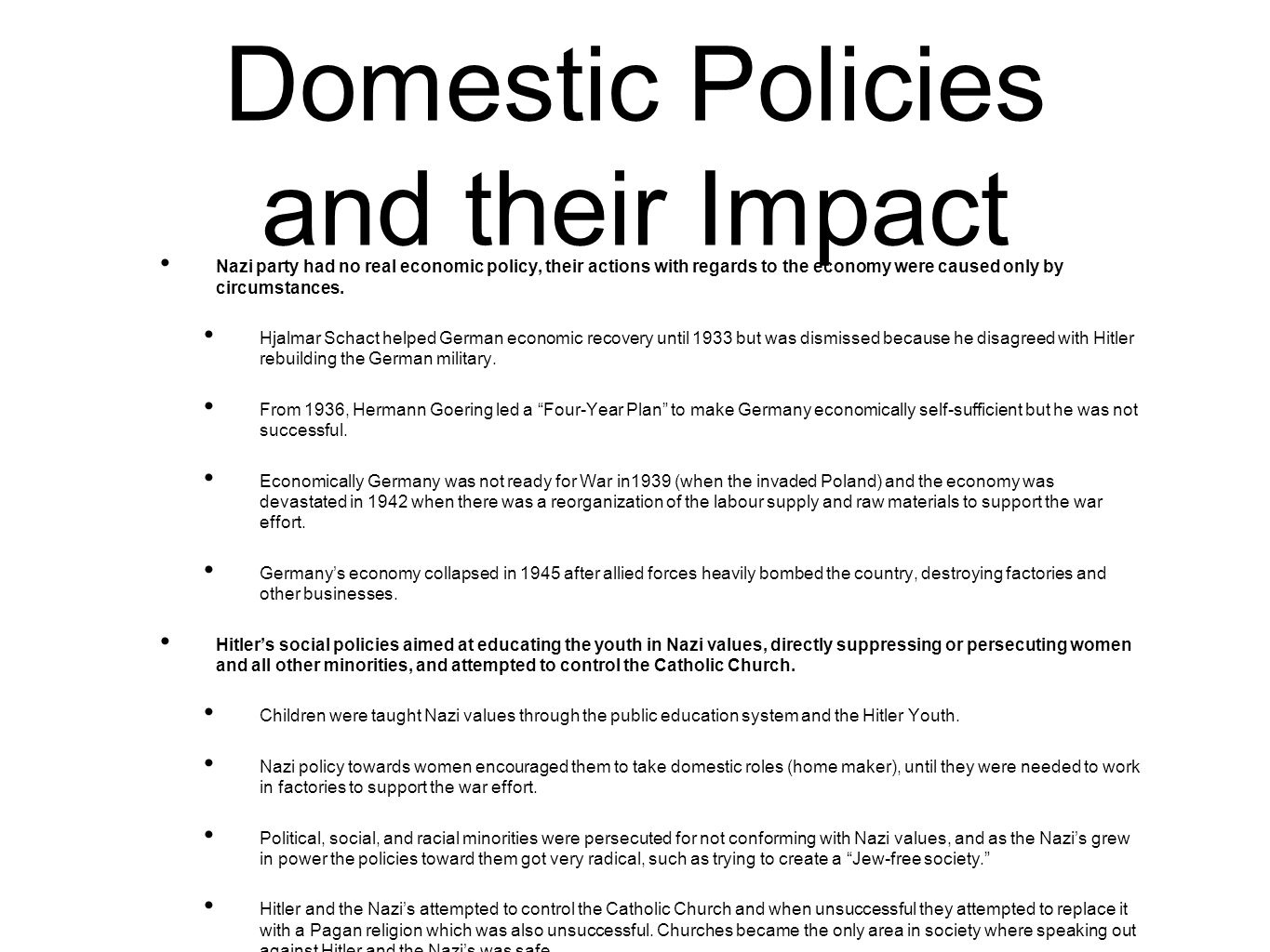 examination question on the domestic policies of the nazi state essay Bridges and roads - what transportation-related developments came from wartime or post-war policies domestic violence - was there grace essay.