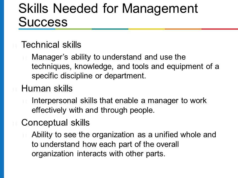 Technical skills Manager's ability to understand and use the techniques, knowledge, and tools and equipment of a specific discipline or department. Hu