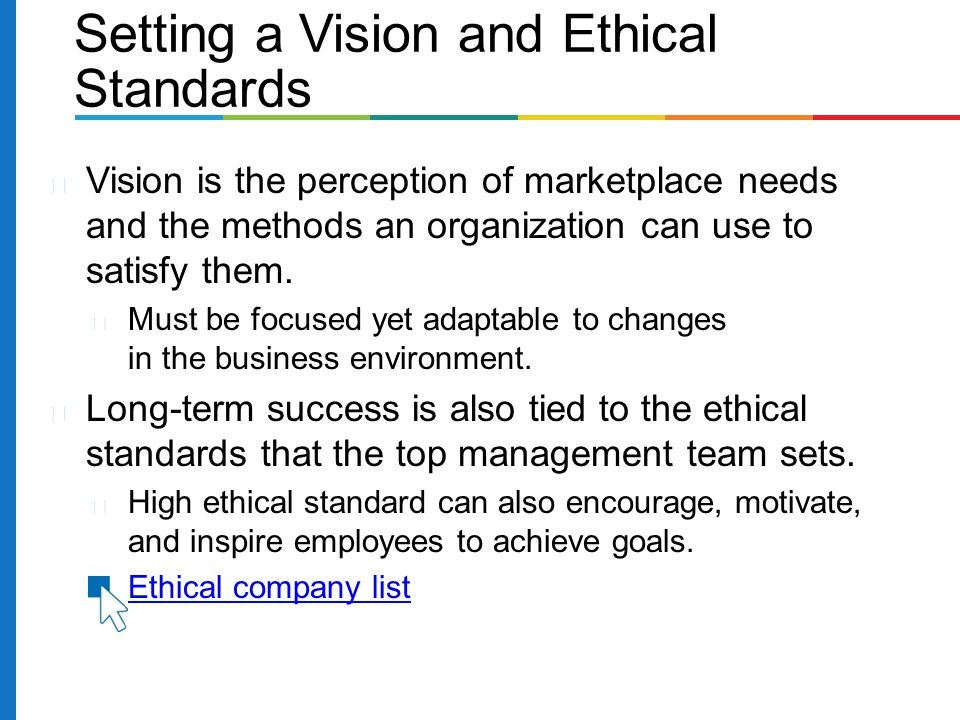 Vision is the perception of marketplace needs and the methods an organization can use to satisfy them. Must be focused yet adaptable to changes in the