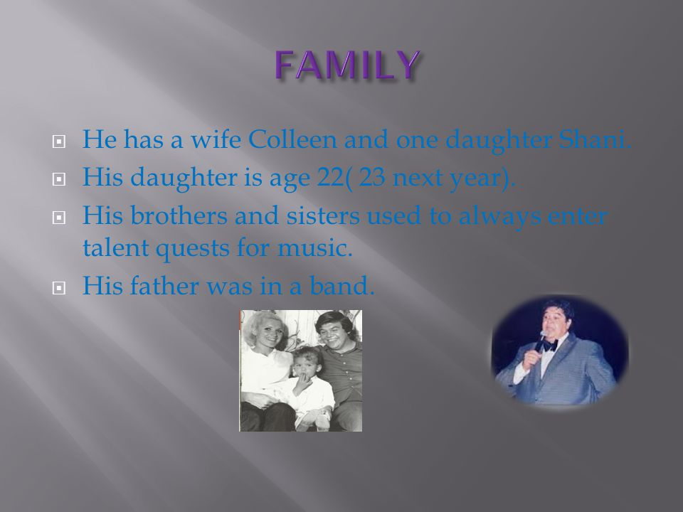 He has a wife Colleen and one daughter Shani.  His daughter is age 22( 23 next year).