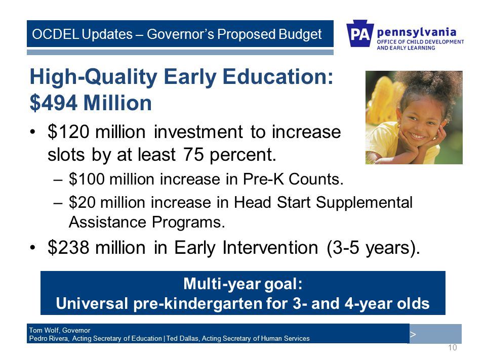 > Tom Wolf, Governor Pedro Rivera, Acting Secretary of Education | Ted Dallas, Acting Secretary of Human Services OCDEL Updates – Governor's Proposed Budget High-Quality Early Education: $494 Million $120 million investment to increase slots by at least 75 percent.