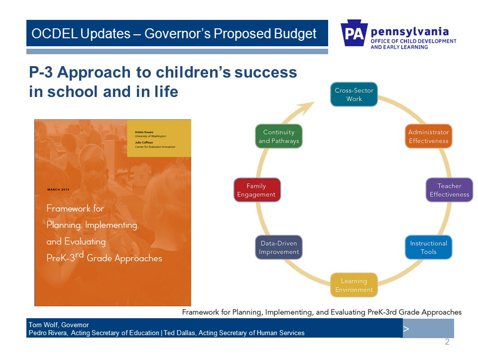 > Tom Wolf, Governor Pedro Rivera, Acting Secretary of Education | Ted Dallas, Acting Secretary of Human Services OCDEL Updates – Governor's Proposed Budget P-3 Approach to children's success in school and in life 2
