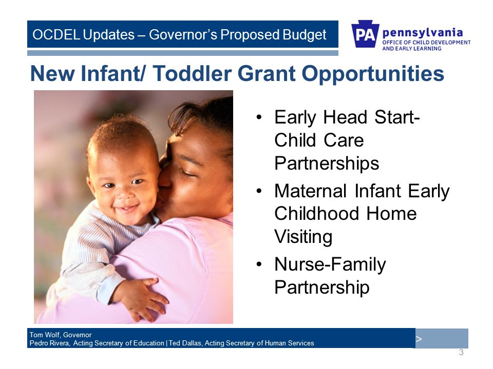 > Tom Wolf, Governor Pedro Rivera, Acting Secretary of Education | Ted Dallas, Acting Secretary of Human Services OCDEL Updates – Governor's Proposed Budget New Infant/ Toddler Grant Opportunities Early Head Start- Child Care Partnerships Maternal Infant Early Childhood Home Visiting Nurse-Family Partnership 3