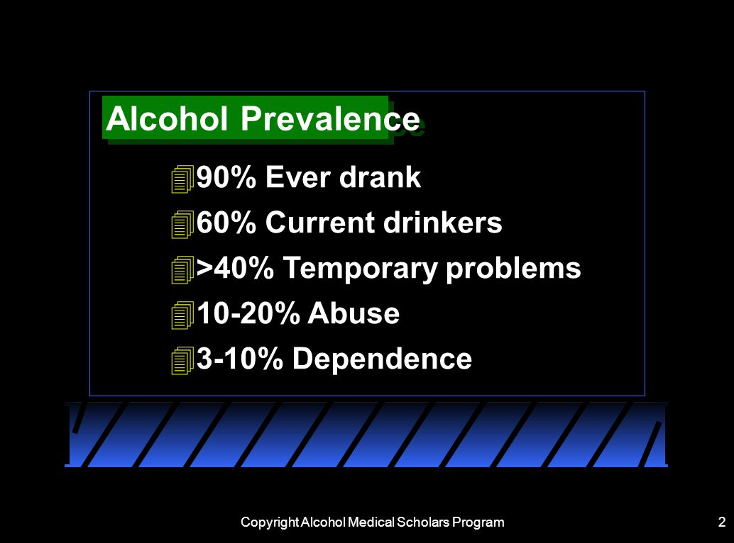 2 Alcohol Prevalence 490% Ever drank 460% Current drinkers 4>40% Temporary problems % Abuse 43-10% Dependence