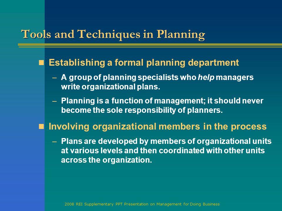 Business planning techniques