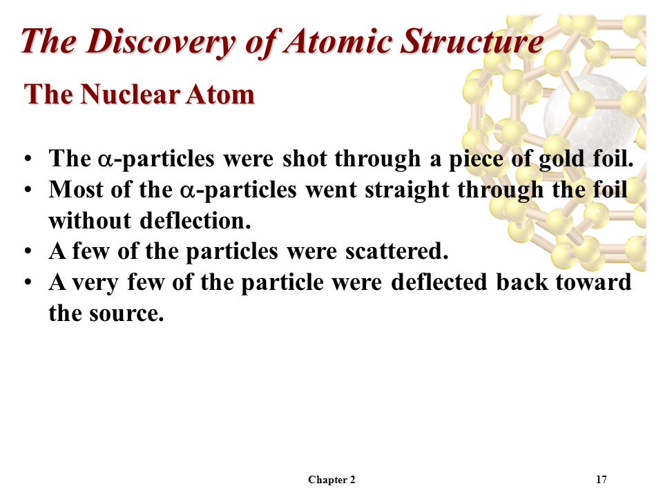 Chapter 217 The Nuclear Atom The  -particles were shot through a piece of gold foil.