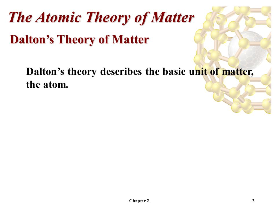 2 Dalton's Theory of Matter Dalton's theory describes the basic unit of matter, the atom.