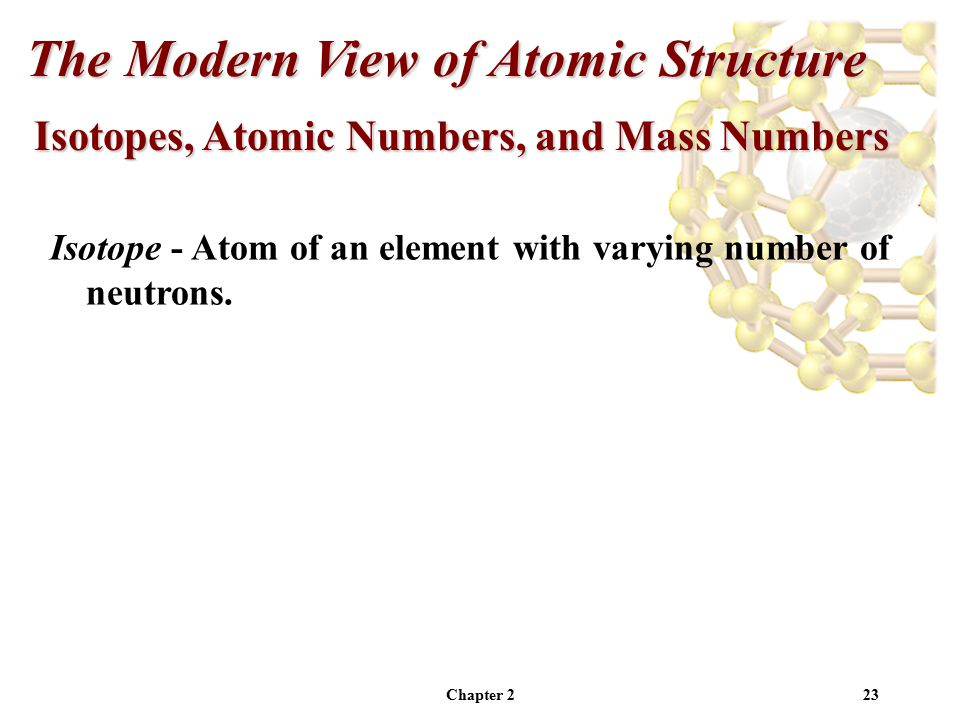 Chapter 223 Isotopes, Atomic Numbers, and Mass Numbers The Modern View of Atomic Structure Isotope - Atom of an element with varying number of neutrons.